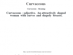 Curvaceous- Meaning:Curvaceous  : adjective. An attractively shaped woman with curves and shapely breasts.