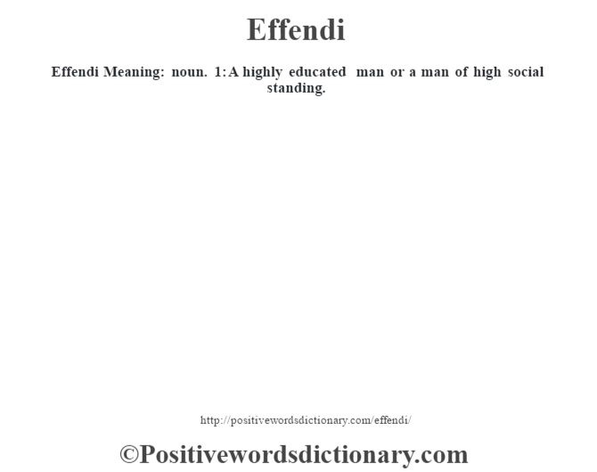 Effendi  Meaning: noun. 1: A highly educated man or a man of high social standing.
