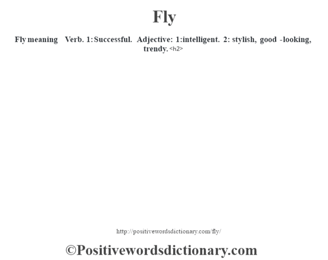 Fly meaning – Verb. 1: Successful. Adjective: 1:intelligent. 2: stylish, good-looking, trendy.<h2>