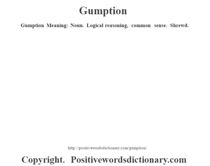 Gumption Meaning: Noun. Logical reasoning, common sense. Shrewd.