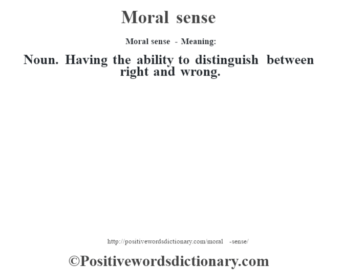 Moral sense - Meaning: