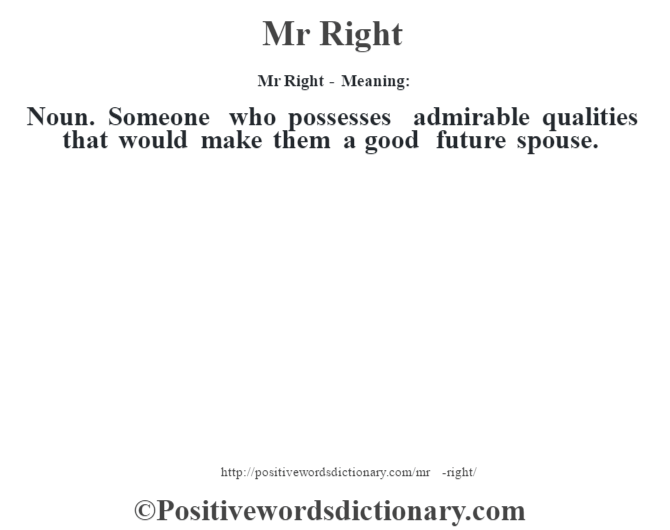 Mr Right - Meaning:   Noun. Someone who possesses admirable qualities that would make them a good future spouse.