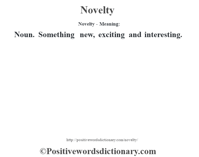 Novelty- Meaning: Noun. Something new, exciting and interesting.