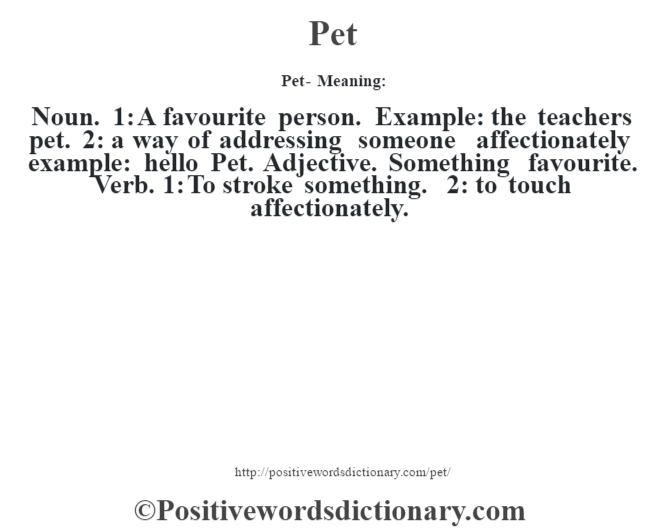 Pet- Meaning: Noun. 1: A favourite person. Example: the teacher's pet. 2: a way of addressing someone affectionately example: hello Pet. Adjective. Something favourite. Verb. 1: To stroke something. 2: to touch affectionately.