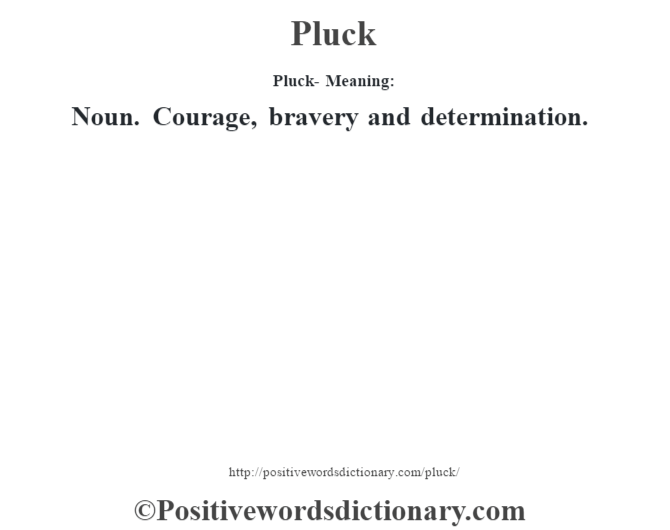 Pluck- Meaning: Noun. Courage, bravery and determination.