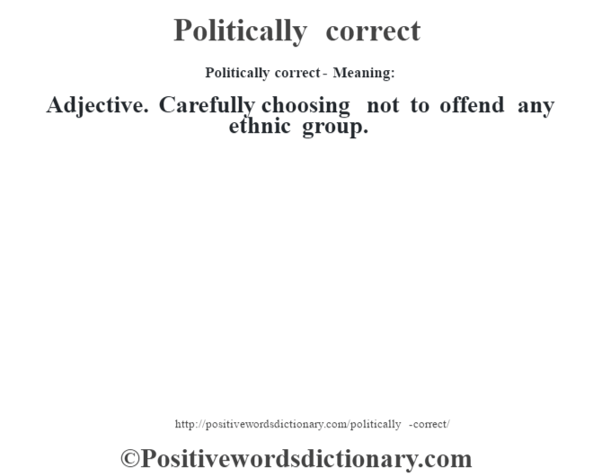 Politically correct- Meaning: Adjective. Carefully choosing not to offend any ethnic group.