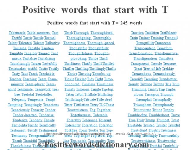 Positive words that start with T = 245 wordsTabernacleTable-mannersTactTactfulTacticTactileTactualTalentTalentedTalentsTalkativeTamashaTanableTandemTangibleTangiblyTannedTant mieuxTantalizeTantalizingTantalizinglyTarzanTastefullyTastemakertastfulTasticTastilyTastyTautTeachTeachableTeacherTeachingTeamTeam-ministryTeam-playerTeam-spiritTeammateTeamworktee-heeTeetotalTeetotallerTelegenicTemperateTemptTemptingTemptinglyTenaciousTenaciouslyTenacityTenderTender-heartedTenderiseTenderizeTenderlyTensileTerribilitàTerrificTerrificallyTestamentTestifyTestimonialTestimonyTetragrammatonThankThankfulThankfullyThankfulnessThank-offeringThanksThanksgivingThank-youTheocentricTheologianTheologyTherapeuticTherapeuticalTherapeuticallyTherapeutistTherapyThickThoroughThoroughbredThoroughgoingThoroughlyThoroughnessThorough-pacedThoughtfulThoughtfullyThoughtfulnessThought-provokingThriceThriftThriftinessThriftyThrillThrilledThrillerThrillingThrillinglyThrillsThriveThrivingThumbs-upTickleTickledTidyTightTime-honouredTimelessTimelinessTimelyTimeousTingleTip-topTitanTitbitTitillateTitillatingTitillatinglyTitivateTitle-deedTitterTittilationTizzyTLCToastToastmistressTogTogetherTogethernessTolerableTolerablyToleranceTolerantTolerantlyTolerationToleratorToll-freeTonicTootleTopTop-brassTop-flightTop-levelTop-lineTop-notchTop-qualityTopsTorchTorch-bearerTostmasterTotalTouchTouchdownTouchingToughTougherToughestTough-loveToweringTractionTraditionTrailblazerTrainTrainerTrainingTranquilTranquillityTranscendTranscendentTransformTransformationTransformativeTransfigurationTransfuseTransparentTreacleTreasureTreatTree-of-lifeTrekkieTremendousTremendouslyTrendifyTrendingTrendsetterTrendyTribuneTributeTrigTrimTrimmingTrinityTripTriple-crownTrisagionTriumphTriumphalTriumphallyTriumphantTriumphantlyTriumvirateTriuneTrophyTrouble-freeTroubleshootTroveTrueTrulyTrumpTrumpetTrustTrustableTrustedTrusterTrustfulTrust-fundTrustilyTrustinessTrustingTrustinglyTrustworthilyTrustworthinessTrustworthyTrustyTruthTruthfulTr