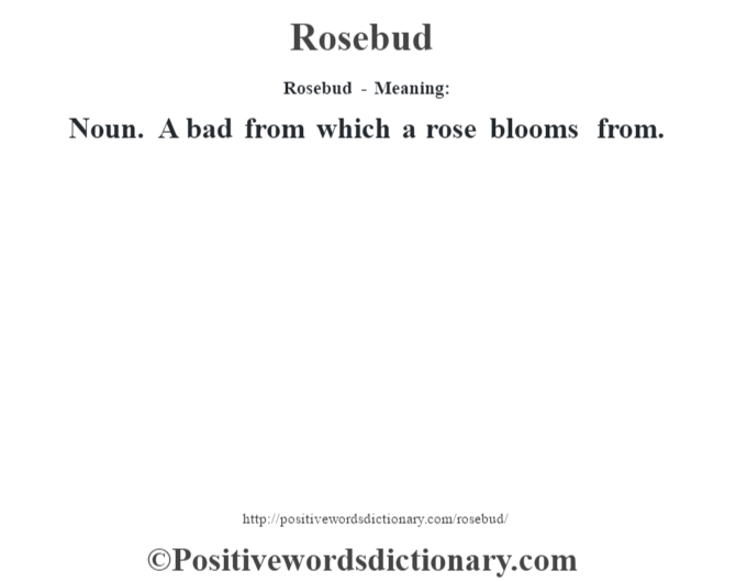 Rosebud - Meaning:   Noun. A bad from which a rose blooms from.