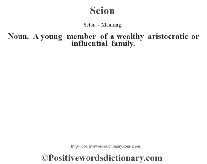 Scion - Meaning: Noun. A young member of a wealthy aristocratic or influential family.