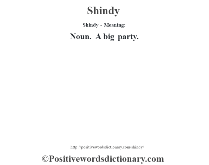 Shindy - Meaning: Noun. A big party.