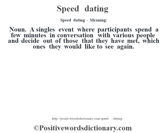 Speed dating - Meaning: Noun. A singles event where participants spend a few minutes in conversation with various people and decide out of those that they have met, which ones they would like to see again.