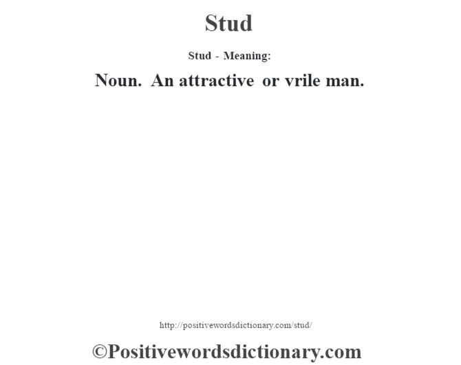 Stud - Meaning: Noun. An attractive or vrile man.