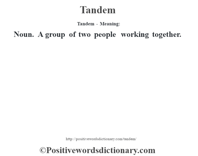 Tandem - Meaning: Noun. A group of two people working together.