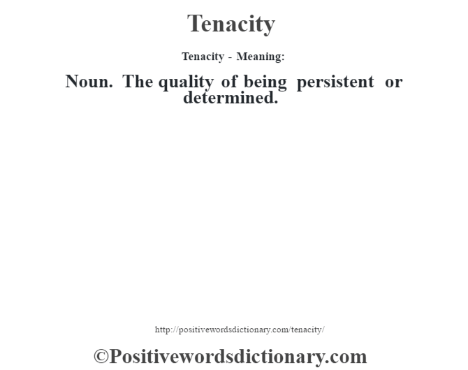 Tenacity - Meaning: Noun. The quality of being persistent or determined.