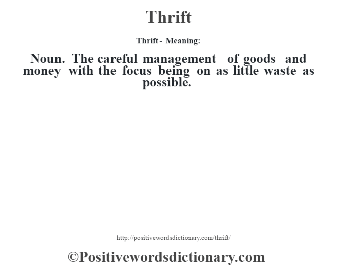 Thrift - Meaning: Noun. The careful management of goods and money with the focus being on as little waste as possible.
