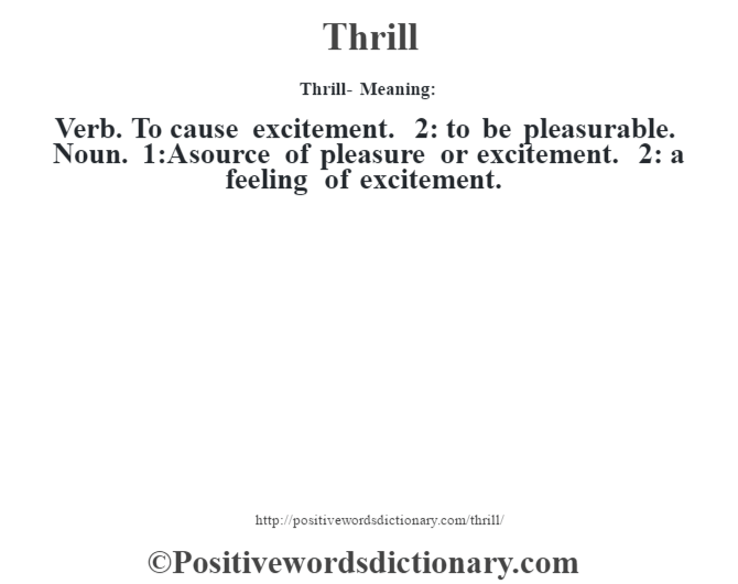 Thrills Meaning
