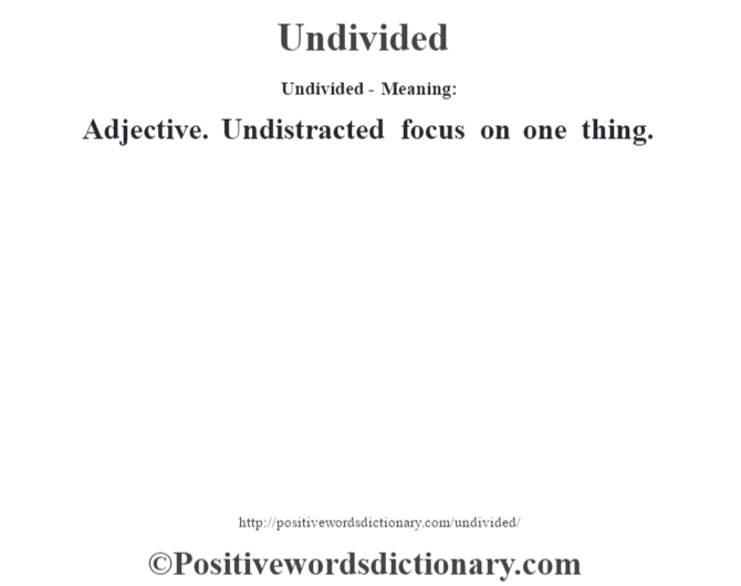 Undivided- Meaning: Adjective. Undistracted focus on one thing.