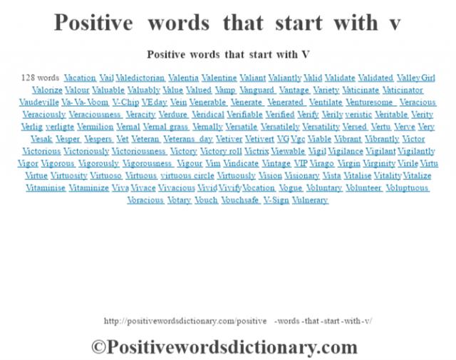 Positive words that start with V128 wordsVacationVailValedictorianValentiaValentineValiantValiantlyValidValidateValidatedValley GirlValorizeValourValuableValuablyValueValuedVampVanguardVantageVarietyVaticinateVaticinatorVaudevilleVa-Va-VoomV-ChipVE dayVeinVenerableVenerateVeneratedVentilateVenturesomeVeraciousVeraciouslyVeraciousnessVeracityVerdureVeridicalVerifiableVerifiedVerifyVerilyveristicVeritableVerityVerligverligteVermilionVernalVernal grassVernallyVersatileVersatilelyVersatilityVersedVertuVerveVeryVesakVesperVespersVetVeteranVeterans dayVetiverVetivertVGVgcViableVibrantVibrantlyVictorVictoriousVictoriouslyVictoriousnessVictoryVictory rollVictrixViewableVigilVigilanceVigilantVigilantlyVigorVigorousVigorouslyVigorousnessVigourVimVindicateVintageVIPViragoVirginVirginityVirileVirtuVirtueVirtuosityVirtuosoVirtuousvirtuous circleVirtuouslyVisionVisionaryVistaVitaliseVitalityVitalizeVitaminiseVitaminizeVivaVivaceVivaciousVividVivifyVocationVogueVoluntaryVolunteerVoluptuousVoraciousVotaryVouchVouchsafeV-SignVulnerary