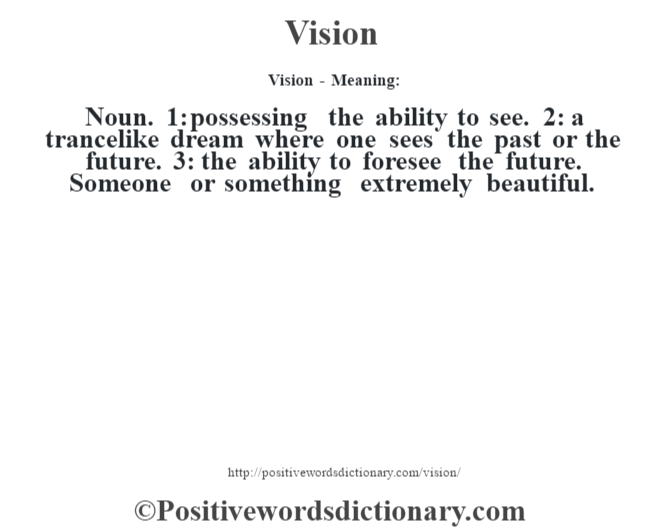 Vision - Meaning: Noun. 1: possessing the ability to see. 2: a trancelike dream where one sees the past or the future. 3: the ability to foresee the future. Someone or something extremely beautiful.