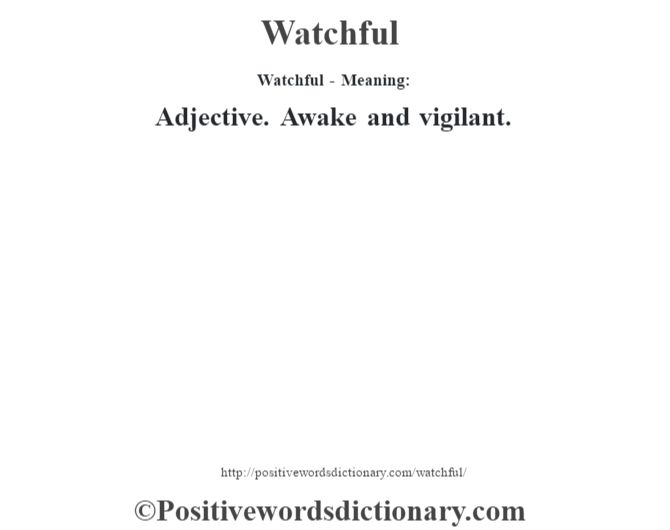 Watchful - Meaning: Adjective. Awake and vigilant.