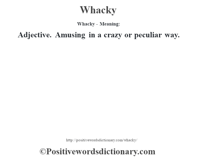 Whacky - Meaning: Adjective. Amusing in a crazy or peculiar way.