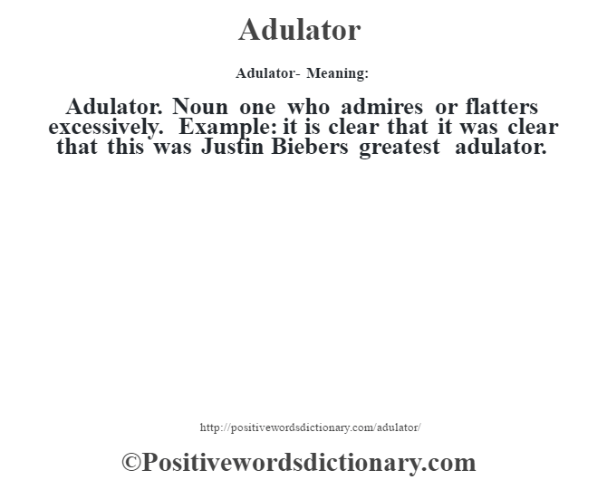 Adulator- Meaning:Adulator. Noun one who admires or flatters excessively. Example: it is clear that it was clear that this was Justin Bieber's greatest adulator.