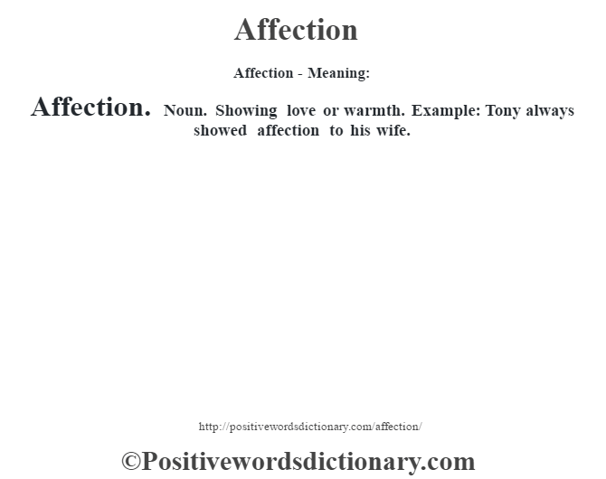 Adjective for affection
