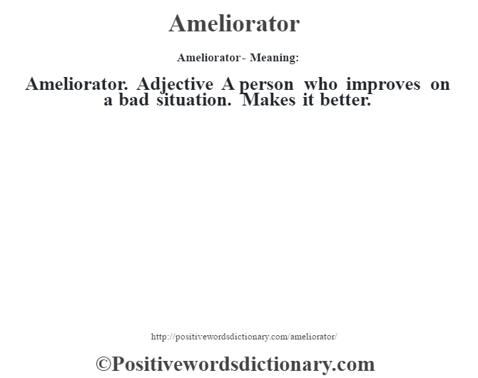 Ameliorator- Meaning:Ameliorator. Adjective A person who improves on a bad situation. Makes it better.