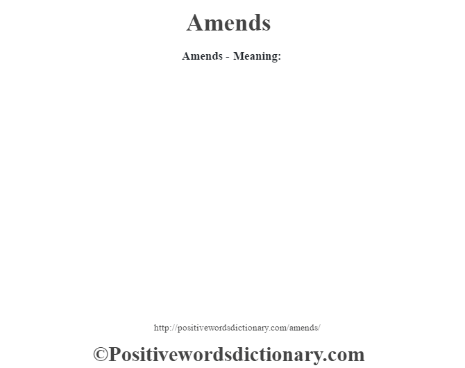 Amends- Meaning:
