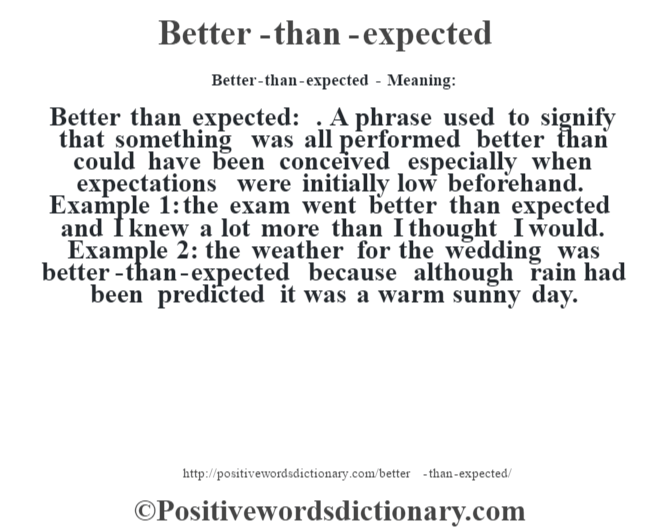 Better-than-expected- Meaning:Better than expected: . A phrase used to signify that something was all performed better than could have been conceived especially when expectations were initially low beforehand. Example 1: the exam went better than expected and I knew a lot more than I thought I would. Example 2: the weather for the wedding was better-than-expected because although rain had been predicted it was a warm sunny day.
