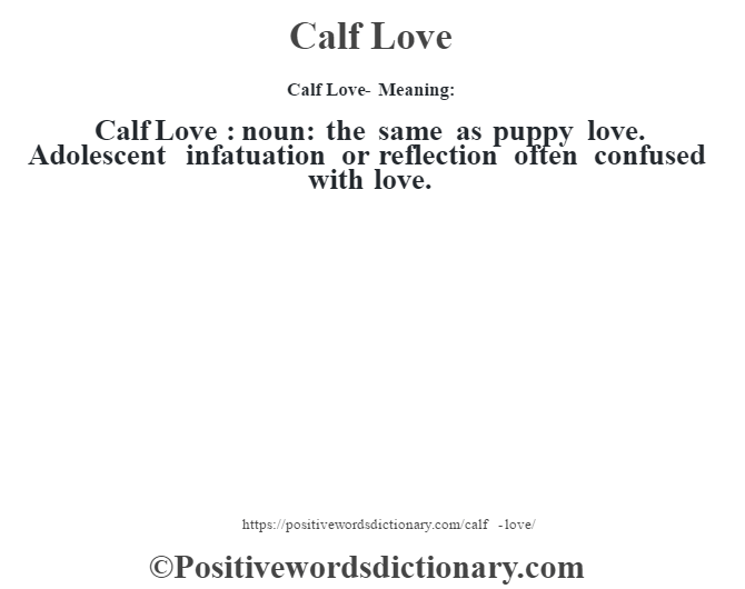 Calf Love- Meaning:Calf Love  : noun: the same as puppy love. Adolescent infatuation or reflection often confused with love.