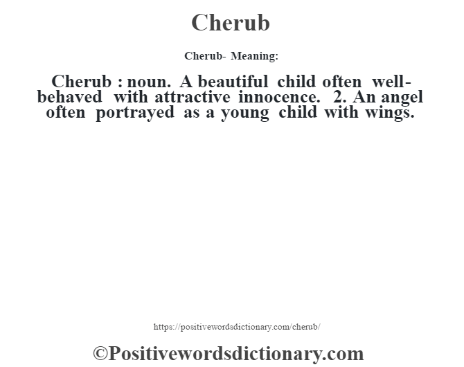 Cherub- Meaning:Cherub  : noun. A beautiful child often well-behaved with attractive innocence. 2. An angel often portrayed as a young child with wings.