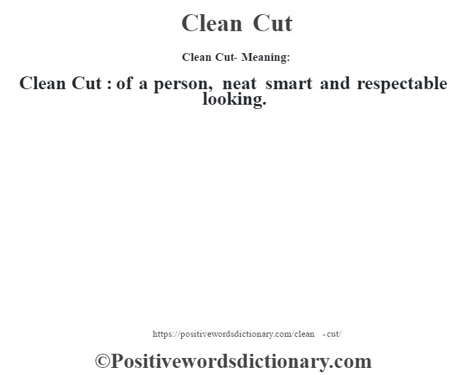 Clean Cut- Meaning:Clean Cut  : of a person, neat smart and respectable looking.