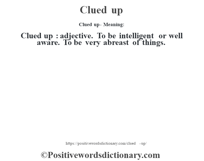 Clued up- Meaning:Clued up  : adjective. To be intelligent or well aware. To be very abreast of things.