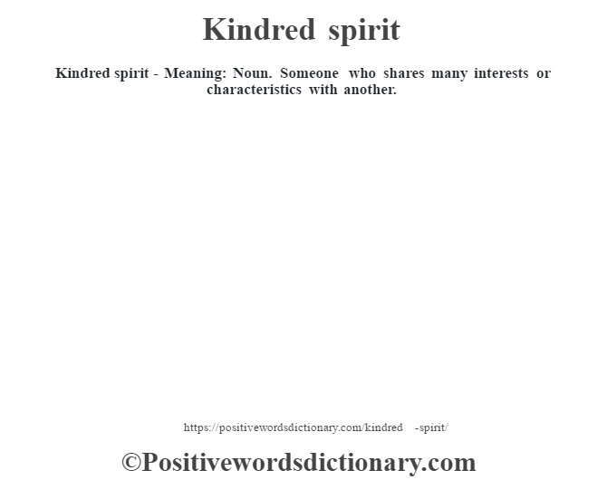 Kindred spirit - Meaning: Noun.  Someone who shares many interests or characteristics with another.