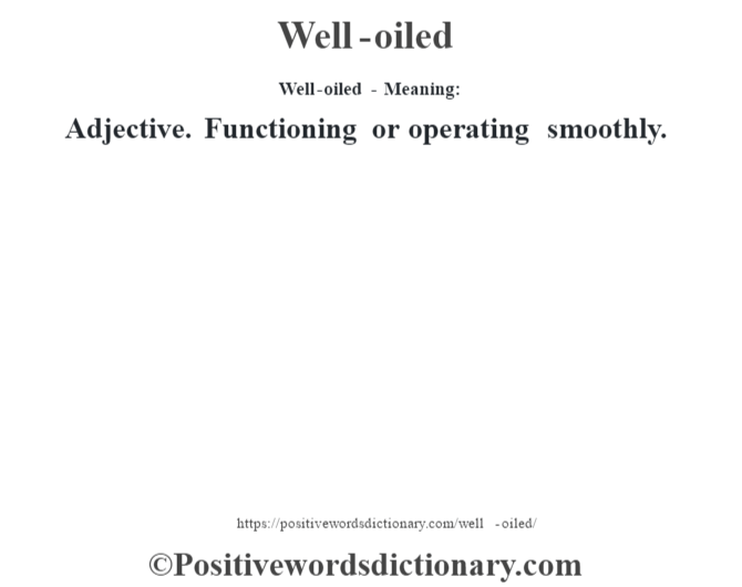 Well-oiled - Meaning: Adjective. Functioning or operating smoothly.