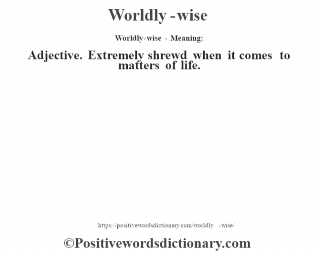 Worldly-wise - Meaning: Adjective. Extremely shrewd when it comes to matters of life.