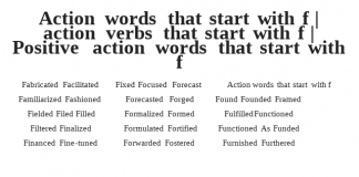 Action words that start with f Fabricated Facilitated Familiarized Fashioned Fielded Filed Filled Filtered Finalized Financed Fine-tuned Fixed Focused Forecast Forecasted Forged Formalized Formed Formulated Fortified Forwarded Fostered Found Founded Framed Fulfilled Functioned Functioned As Funded Furnished Furthered