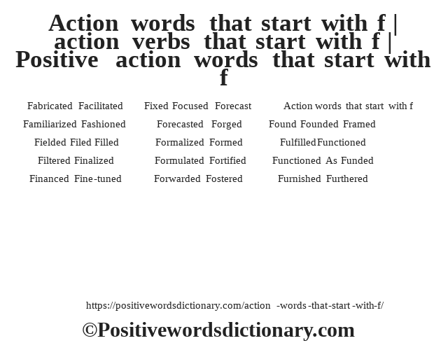 Action words that start with f